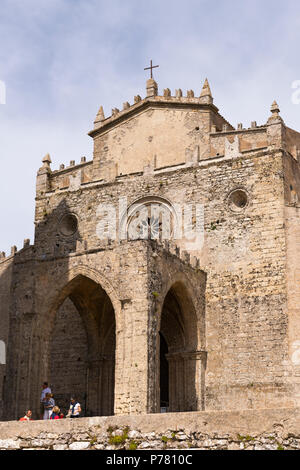 Italy Sicily medieval walled town Erice on Monte San Giuliana La Real Chiesa Madrice Insigne Collegiata Mother Church Chiesa Madre built 1314 by - Stock Photo