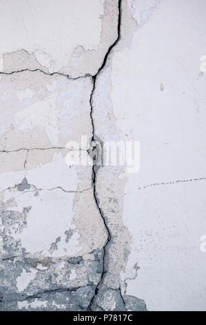 Grungy wall with large crack cement floor texture,cement large crack for background. - Stock Photo