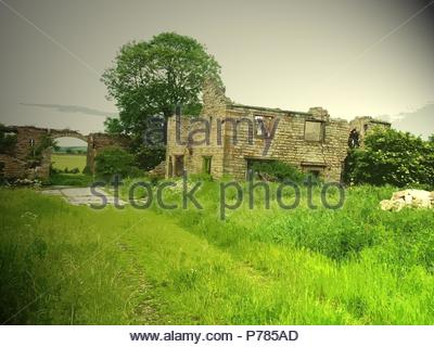 Remains of Lodge Farm, This ruin was likely to have been associated with the Sutton Scarsdale Hall estate in the past, UK, art, art Britain, Artist: Sarah Smith. - Stock Photo