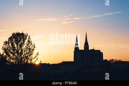 Chartres Cathedral, also called Cathedral of Our Lady of Chartres at sunset in France - Stock Photo
