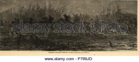 Dragging artillery through the mud, 1864 March, 1 print wood engraving, 35 x 13 cm. (image), 1862-1865, by Alfred R Waud, 1828-1891, an american artist famous for his American Civil War sketches, America, US. - Stock Photo