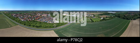 High resolution panorama of fields,meadows and a small village in the north of germany, aerial view, made with drone - Stock Photo