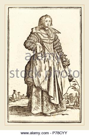 after Jacques Callot, Noble Woman with Large Collar, woodcut. - Stock Photo