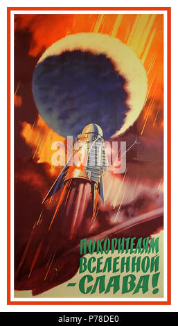 "Vintage 1960's USSR Space Race Propaganda Poster featuring rocket heads for space with Hammer and Sickle on side.""Glory to the conquerors of the universe!"" This is the universe itself is the goal ... - Stock Photo"