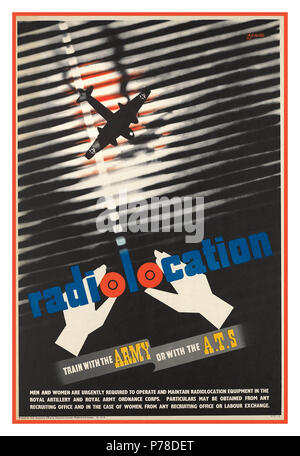 1940's Recruitment WW2 UK British Propaganda Poster 1943 radio location 'Train With The Army Or With The A.T.S' - Stock Photo