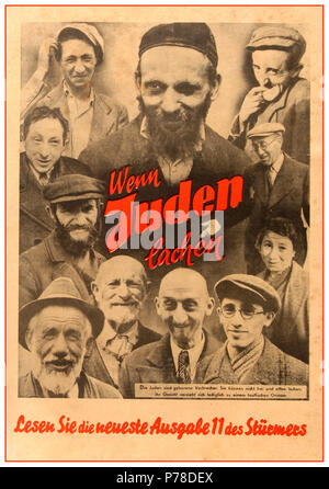 1930's NSDAP Anti-semitic anti jewish Nazi Germany political propaganda poster translated as  'The Jews are born criminals. They are unable to laugh freely and openly. Their faces can only form a devilish grin. 'Portraits of ten men and one woman, all laughing or smiling, encircle the words 'Wenn Juden lachen' [When Jews laugh]. - Stock Photo