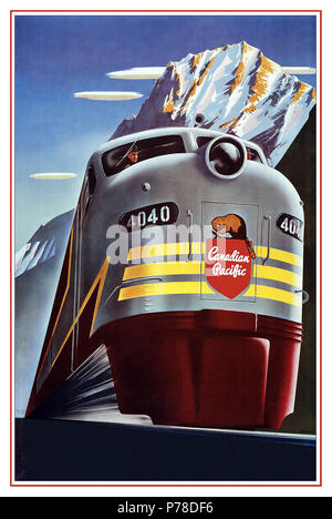 CANADIAN PACIFIC Vintage 1950's Rail Poster Graphic Art Canadian Pacific Railway Company - Diesel Locomotive Train - Logo Beaver Shield - Vintage Railroad Travel Poster by Peter Ewart c.1950 Advertisements Transportation Advertisements Railway Advertisements Canadian Pacific Railway Canadian Pacific Train - Stock Photo