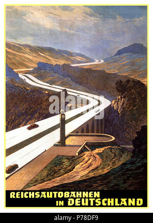 1930's Vintage Autobahn Travel Poster Germany Poster of the Reichsbahn Autobahn Motorway headquarters for German tourist traffic Berlin, Germany 1936 The Hirschberg Saale Bridge site was featured in Nazi propaganda posters advertising the German Autobahn highway system with Swastika emblem on a rest area pillar - Stock Photo
