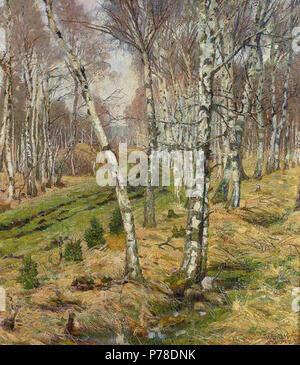 Deutsch: Wilhelm Stumpf: Birken im Herbst, Öl/Lwd., 71 x 65 cm, 1905 . 1905 63 WilhelmStumpfBirkenimHerbst - Stock Photo