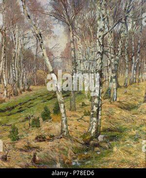Deutsch: Wilhelm Stumpf: Birken im Herbst, Öl/Lwd., 71 x 65 cm, 1905 . 1905 65 WilhelmStumpfBirkenimHerbst - Stock Photo