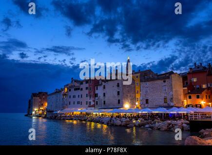 View on Rovinj at night, Istria, Croatia, Europe - Stock Photo
