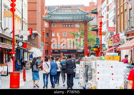 London, UK - June 22, 2018 - London Chinatown features Chinese restaurants, bakeries and souvenir shops in Soho area - Stock Photo