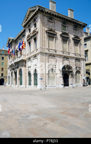 Marseille, City Hall, Hotel de Ville, facing the Vieux Port, built 1653-73 in the Mannerist style - Stock Photo