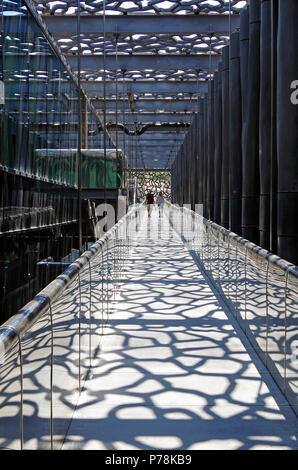 Marseille, MuCEM, View of the public pedestrian ramp between the outer latticework shell & the building itself, linking all floors - Stock Photo