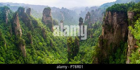 Beautiful panorama of karst mountains in Zhiangjiajie National Park, China - Stock Photo