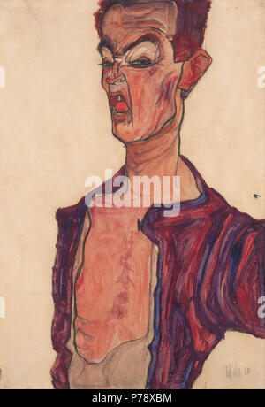 . German: Deutsch: Selbstdarstellung, grimassierend Self-Portrait, Grimacing  1910 18 Egon Schiele - Self-Portrait, Grimacing - - Stock Photo