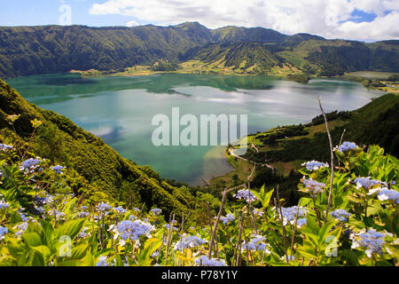 Lagoa das Sete Cidades, twin lakes in Sao Miguel, Azores - Stock Photo