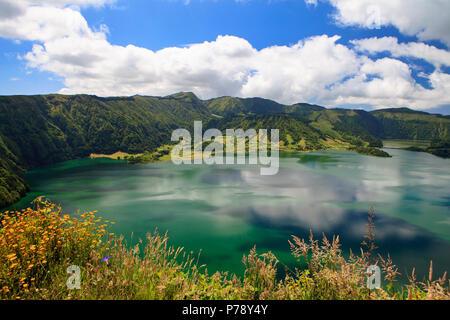Lagoa das Sete Cidades, twin lakes in Sao Miguel, Azores - Stock Photo