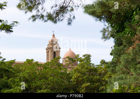 Italy Sicily medieval walled town Erice on Monte San Giuliana cult Venus Erycina dome bell tower view Chiesa di S Giuliano St Saint Church - Stock Photo