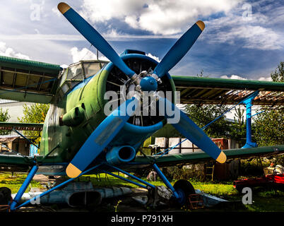 The Antonov An-2 (Russian nickname: 'Annushka' or 'Annie'; 'kukuruznik' - corn crop duster; USAF/DoD reporting name Type 22, NATO reporting name Colt) - Stock Photo