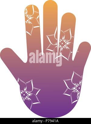 hamsa hand with floral design over white background, vector illustration - Stock Photo