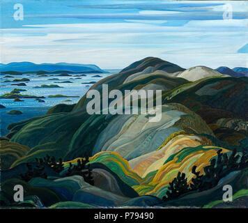 English: Franklin Carmichael, Bay of Islands from Mt. Burke, 1931, oil on canvas, 101.6 x 122.0 cm . 1931 3 Franklin Carmichael - Bay of Islands from Mt. Burke - Stock Photo