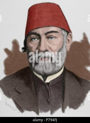 Auguste Mariette (1821-1881). French scholar, archaeologist and Egyptologist. Portrait. Engraving. Colored. - Stock Photo
