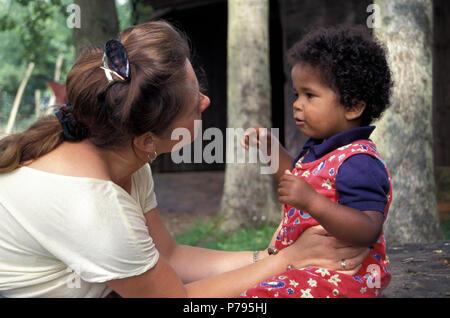 mother reprimanding son - Stock Photo