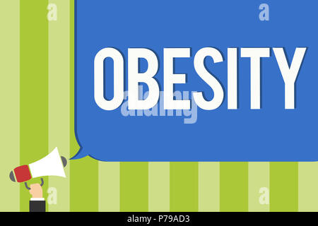 Writing note showing Obesity. Business photo showcasing Medical condition Excess of body fat accumulated Health problem Public notice think declare op - Stock Photo