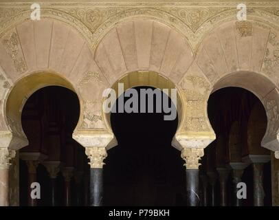 Medina Azahara. Palace-city built by Abd-ar-Rahman III al-Nasir (912-961). Umayyad Caliph of Cordoba. Horseshoe arch. Andalusia. Spain. - Stock Photo