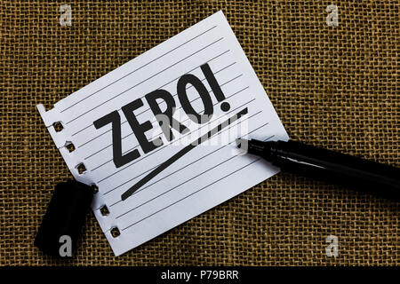 Writing note showing Zero Motivational Call. Business photo showcasing The emptiness nothingness of something no value Ideas paper marker pens importa - Stock Photo