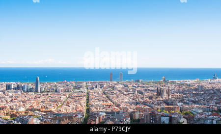 Panoramic view of the city of Barcelona from the Carmel's bunkers - Stock Photo
