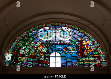 Interior stained glass windows, Catedral Basilica Nuestra Senora de los Milagros (Cathedral Basilica of Our Lady of Miracles), Caacupe, Paraguay - Stock Photo