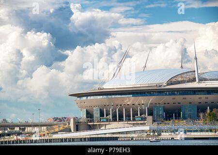 SAINT PETERSBURG. RUSSIA - JULY 03 2018. Krestovsky Stadium, officially Saint-Petersburg Stadium 2018 FIFA World Cup against cloudy sky - Stock Photo