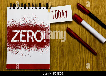 Text sign showing Zero Motivational Call. Conceptual photo The emptiness nothingness of something no value Reminder appointment daily note paper work  - Stock Photo