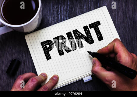 Text sign showing Print. Conceptual photo Produce letter numbers symbols on paper by machine using ink or toner Black coffee white cup paper marker pe - Stock Photo