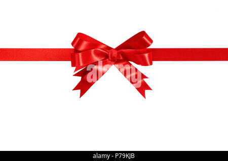 Red gift ribbon bow straight horizontal isolated on white. - Stock Photo