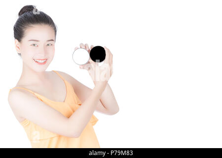 Woman asia pretty woman holding cosmetic cream, Woman Touching her Face, Facial treatment, Cosmetology, Beauty and spa, Pure Beauty Model, Youth and S - Stock Photo