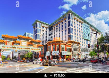Washington, DC, USA - September 09,2017 : Urban cityscape of Washington, DC. Downtown district, China quarter (China Town). - Stock Photo