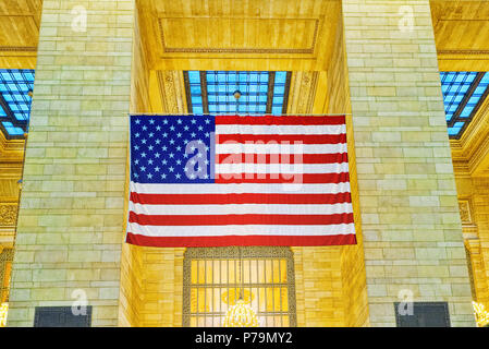 American Flag in Grand Central Terminal- railroad terminal in New York City, United States. - Stock Photo