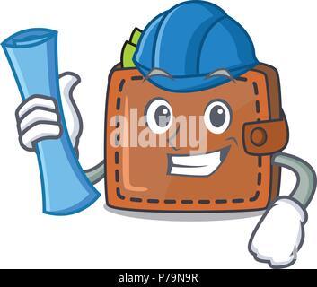 Architect wallet character cartoon style - Stock Photo
