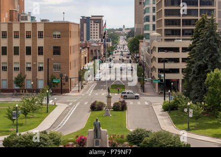 Boise, Idaho, USA. Cityscape with view of downtown, Boise Depot, and traffic along Capitol Boulevard, on a summer afternoon. - Stock Photo