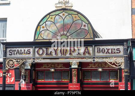 Stained-glass entrance to The Olympia Theatre, Dame Street, Temple Bar, Dublin, Leinster Province, Republic of Ireland - Stock Photo