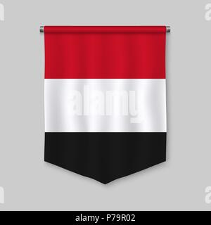 3d realistic pennant with flag of Yemen - Stock Photo
