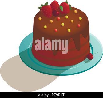 Chocolate cake in isometric style - Stock Photo