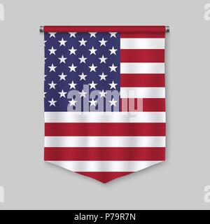 3d realistic pennant with flag of United States - Stock Photo