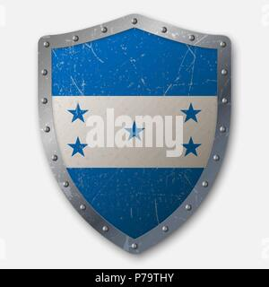 Old Shield with Flag of Honduras. vector illustration - Stock Photo