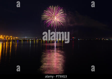 Fourth of July Independence Day Fireworks at Downtown Stuart Riverwalk on the water 2018 - Stock Photo