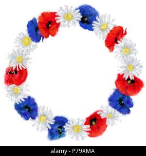 Daisy and Poppy Round Wreath Isolated on White Background. Floral Round Frame with place for text. Watercolor Artistic Floral Arrangement for Print. - Stock Photo
