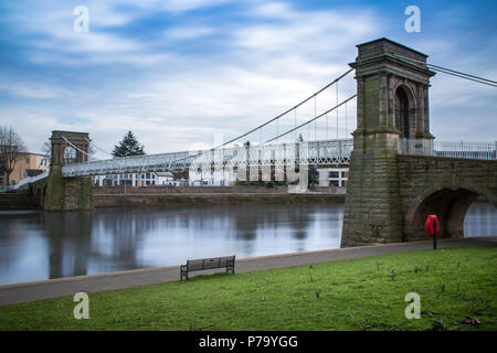 Wilford Suspension Bridge crossing the River Trent in Nottingham, England, UK - Stock Photo